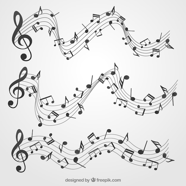 pack de pentagramas con notas musicales y claves de sol