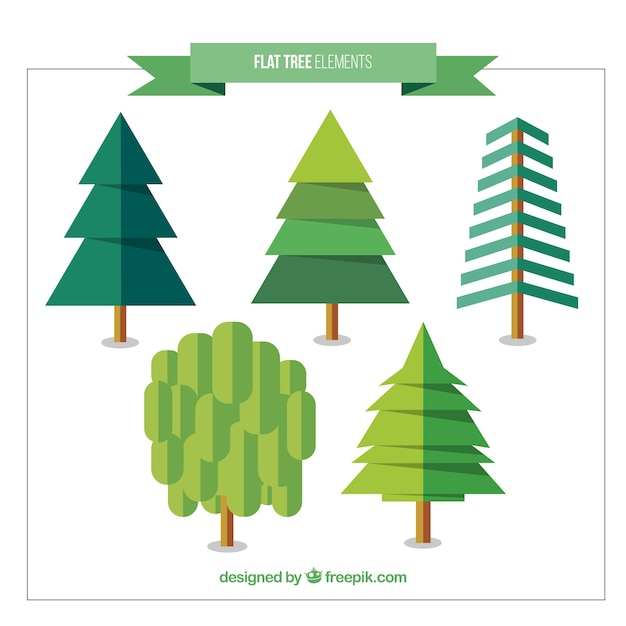 Pack de pinos y árboles en diseño plano   Descargar Vectores gratis