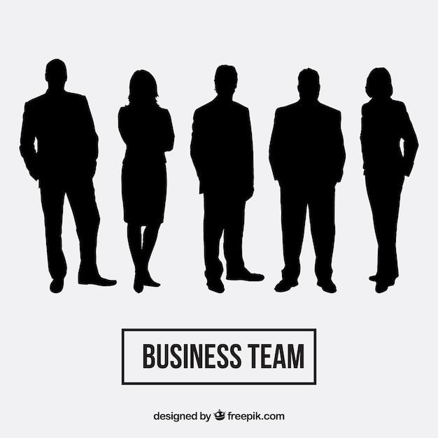 Pack de siluetas de equipo de negocios Vector Gratis