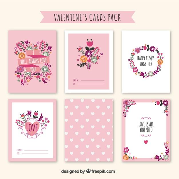 Pack de tarjetas de san valentín bonitas florales Vector Gratis