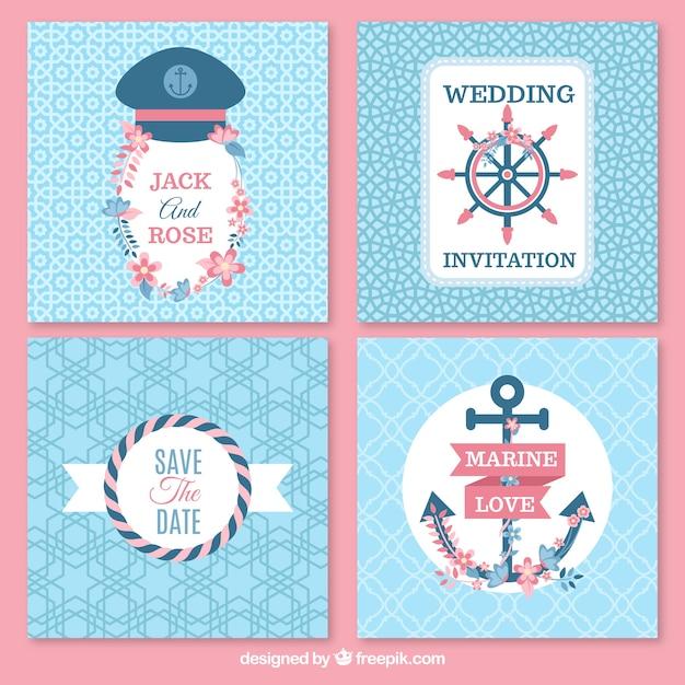 pack de tarjetas marineras de boda vector gratis