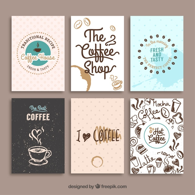 pack de tarjetas vintage con dibujos de caf vector gratis