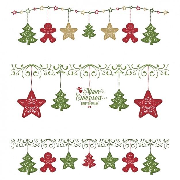 pack de tres guirnaldas con artculos de navidad vector gratis - Guirnaldas De Navidad