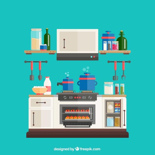 Pack de utensilios de cocina planos descargar vectores for Planos de cocinas gratis