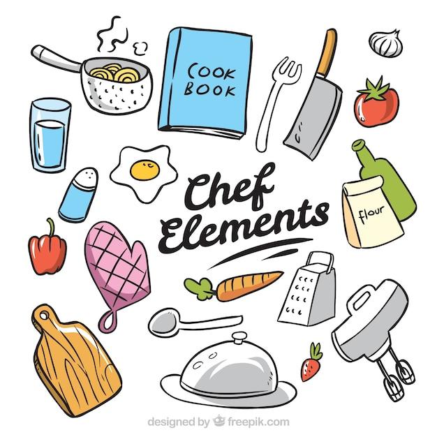Pack dibujado a mano de elementos de chef descargar for Elementos de cocina para chef