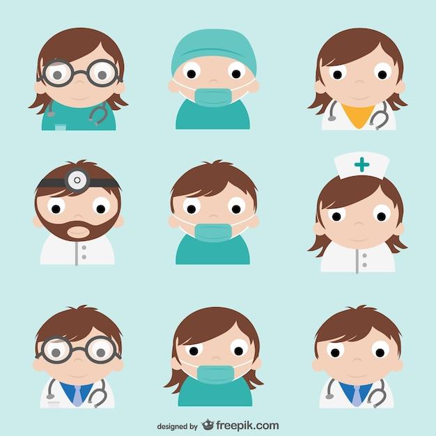 Pack de dibujos de médicos vector gratuito
