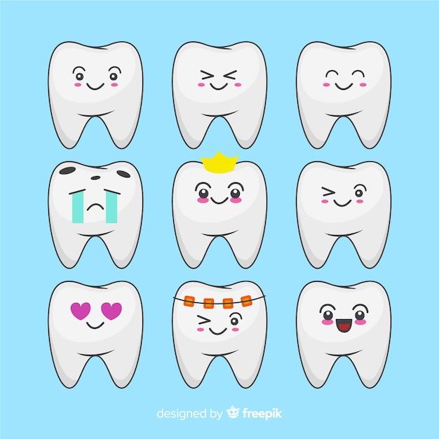 Pack dientes kawaii dibujados a mano vector gratuito