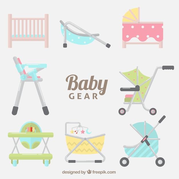 Pack con diferentes accesorios para el bebé vector gratuito