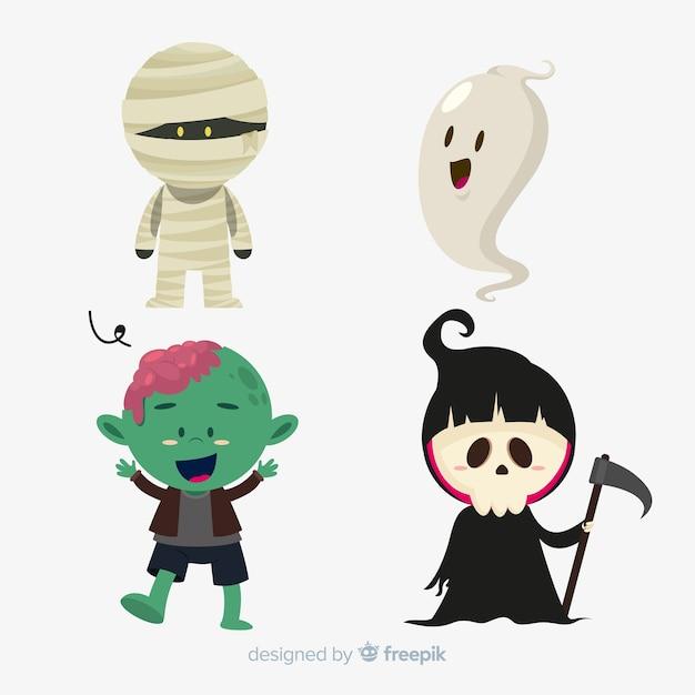 Pack de diseño plano de personajes de halloween vector gratuito