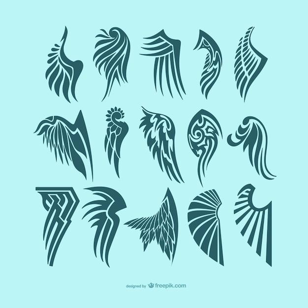 Pack de diseños para tatuajes de alas de ángel vector gratuito