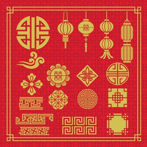 Pack de elementos chinos vector gratuito