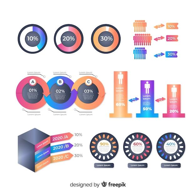 Pack de elementos de infografía coloridos vector gratuito