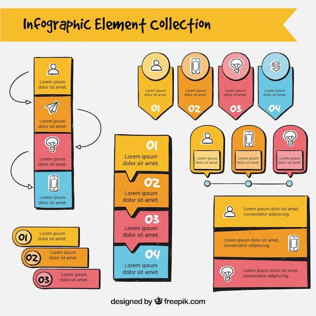 Pack de elementos infográficos a mano vector gratuito
