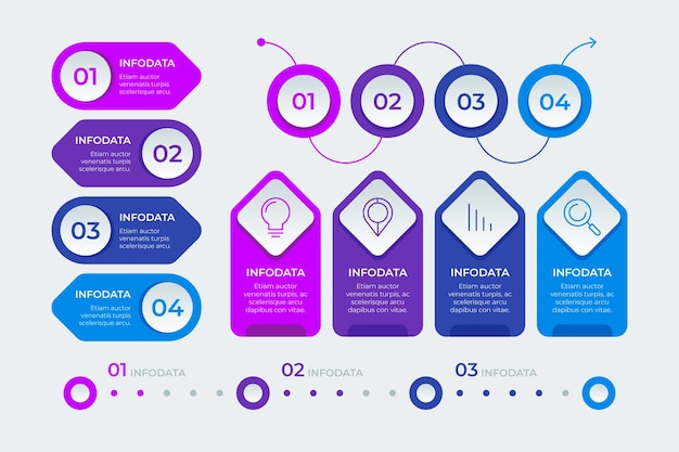 Pack de elementos infográficos vector gratuito