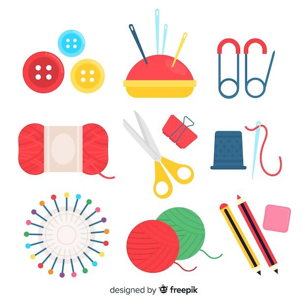 Pack elementos planos coser vector gratuito