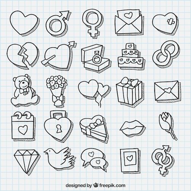 Pack De Esbozos De Corazones De Valentín Descargar Vectores Gratis