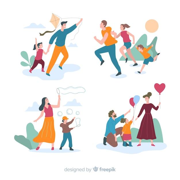 Pack escenas familia en el exterior dibujada a mano vector gratuito