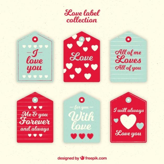 Pack De Etiquetas De Amor Con Corazones Y Mensajes Descargar