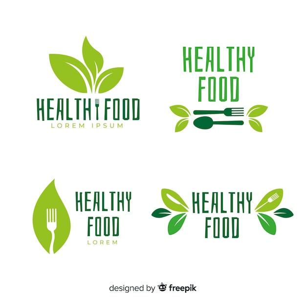 Pack etiquetas comida orgánica plana vector gratuito