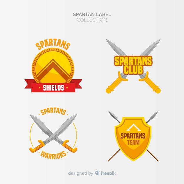Pack de etiquetas espartanos vector gratuito