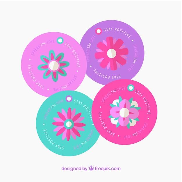 Pack De Etiquetas Redondas Con Flores De Colores Vector Gratis
