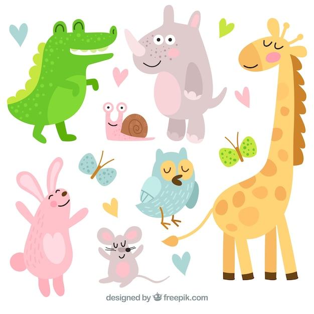 Pack feliz de animales con estilo de dibujo animado Vector Premium