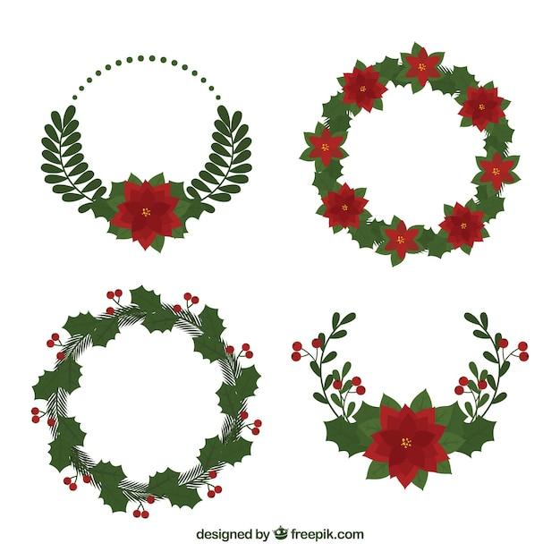 pack floral de adornos navide os descargar vectores gratis
