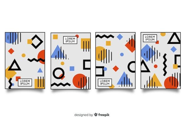 Pack folletos estilo memphis vector gratuito