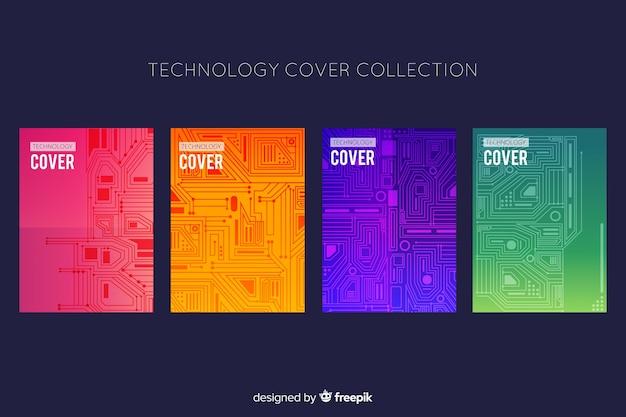Pack folletos estilo tecnológico vector gratuito