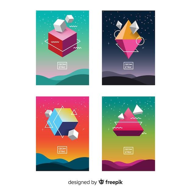 Pack folletos formas geométricas flotando vector gratuito