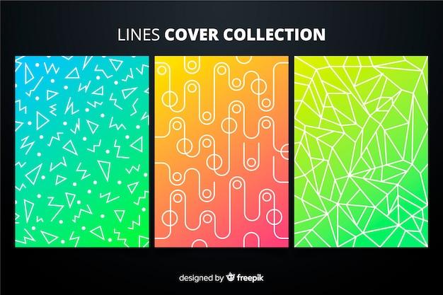 Pack folletos líneas geométricas coloridas vector gratuito