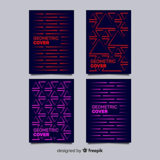 Pack folletos líneas geométricas vector gratuito