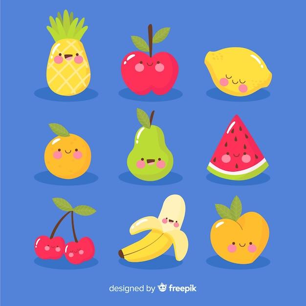 Pack fruta kawaii dibujada a mano vector gratuito
