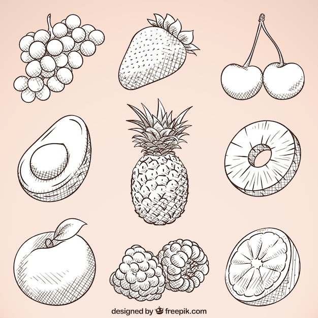 Pack de frutas sabrosas dibujadas a mano vector gratuito