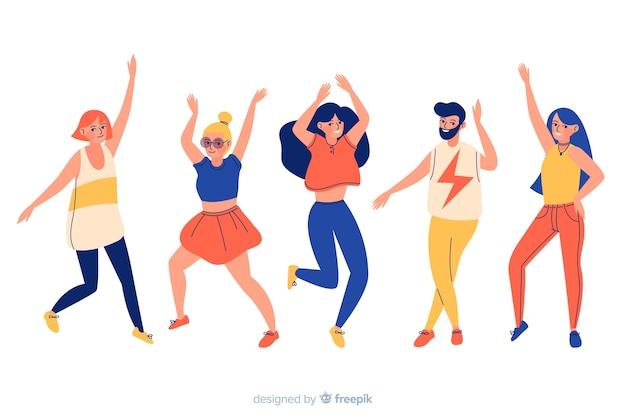 Pack gente bailando dibujado a mano vector gratuito
