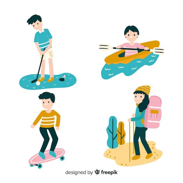 Pack gente haciendo actividades en el exterior dibujada a mano vector gratuito