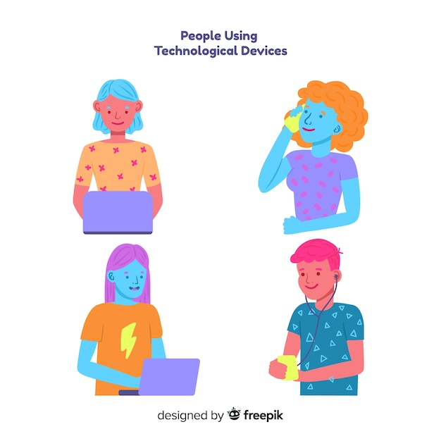 Pack gente joven colorida dibujada a mano usando dispositivos tecnológicos vector gratuito
