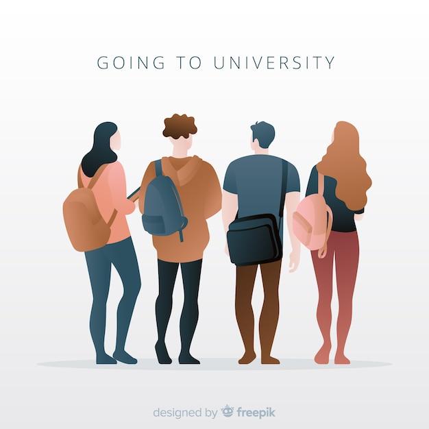 Pack gente yendo a la universidad vector gratuito