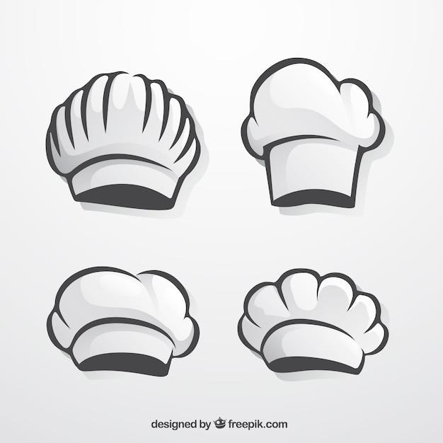 Pack de gorros de chef dibujados a mano vector gratuito