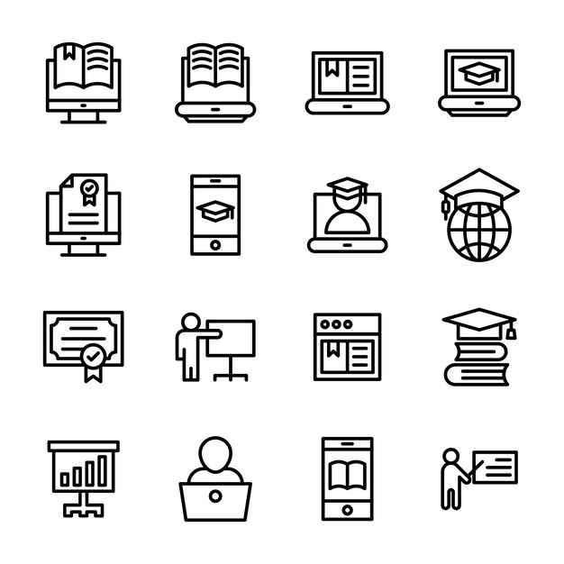 Pack de iconos de línea de e-learning Vector Premium
