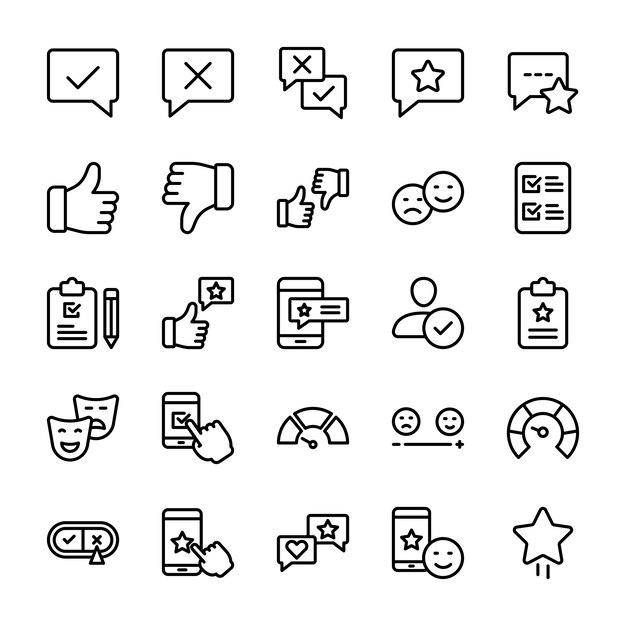 Pack de iconos de línea de opinión y opinión emocional Vector Premium