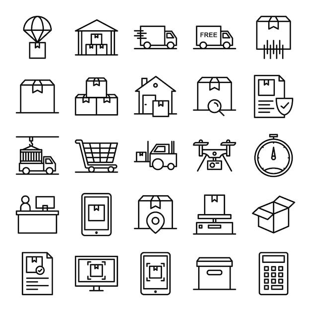 Pack de iconos logísticos Vector Premium