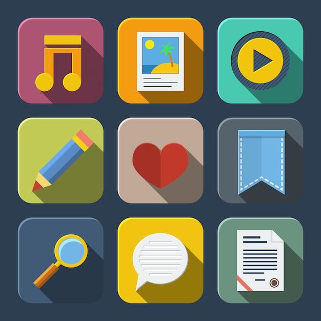 Pack de iconos de medios vector gratuito