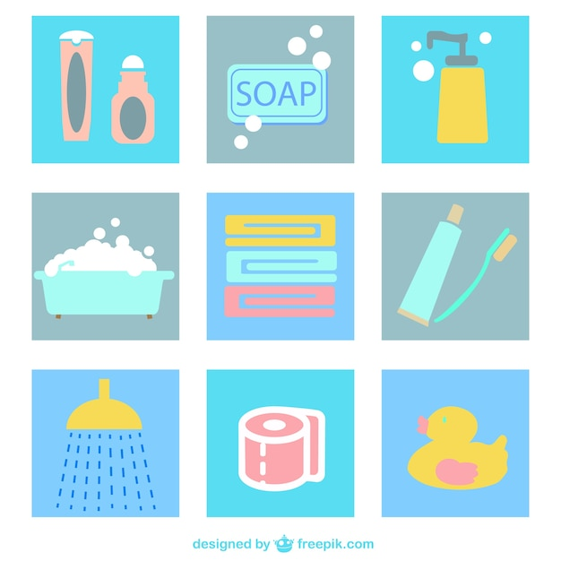 Pack de iconos planos de cuarto de baño | Descargar Vectores gratis