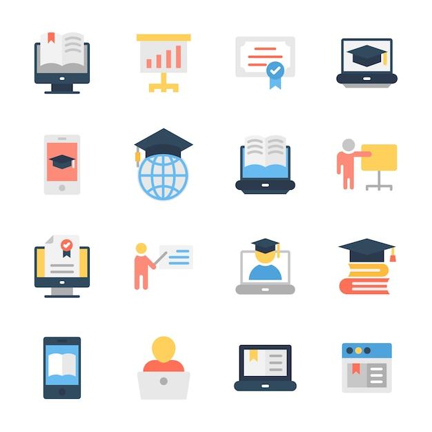 Pack de iconos planos de educación Vector Premium