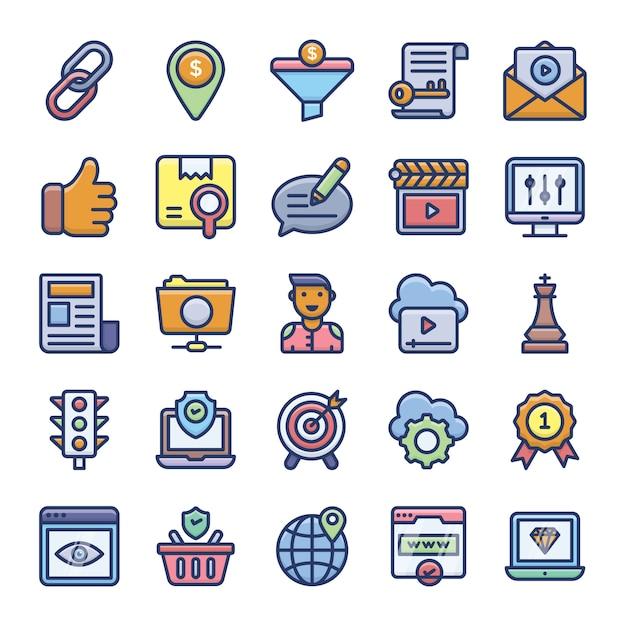 Pack de iconos planos de optimización seo Vector Premium