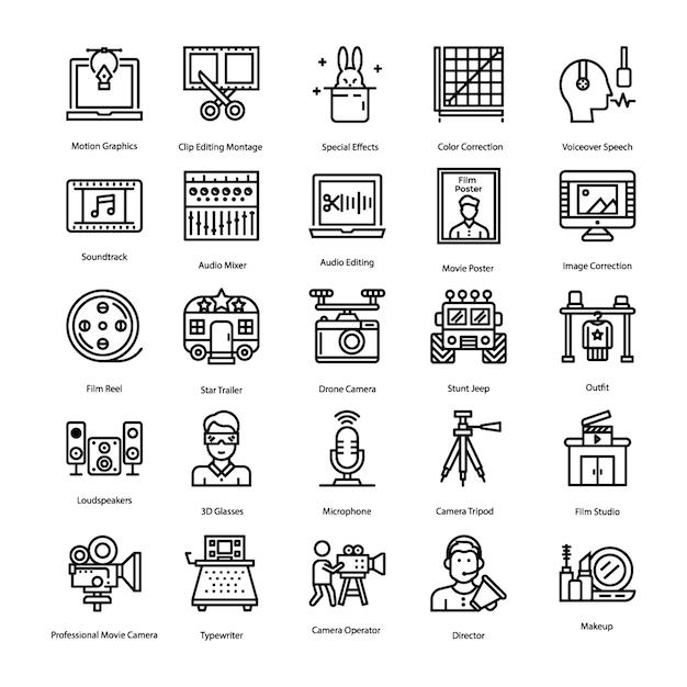 Pack de iconos de producción de video Vector Premium