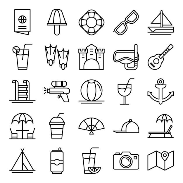Pack de iconos de verano Vector Premium