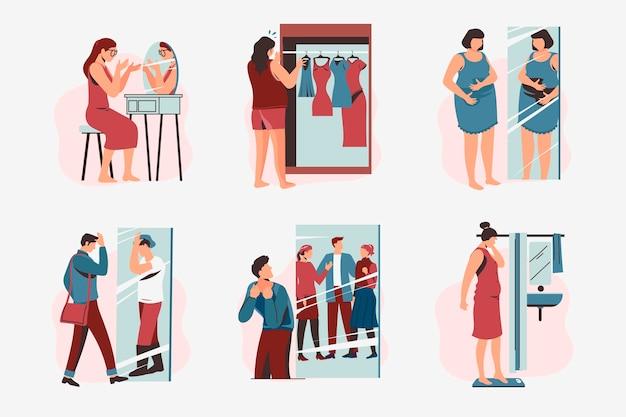 Pack de ilustraciones de baja autoestima con personas vector gratuito