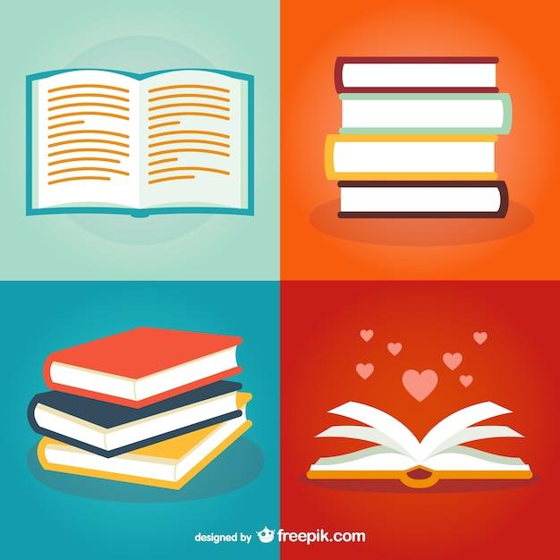 Pack de ilustraciones de libros vector gratuito